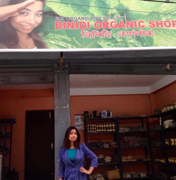 binita baral in front of her organic store binidi