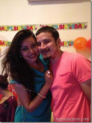 malina joshi with apil bista - birthday