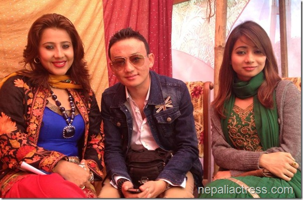 binita baral in tikapur mahotsav with Dipak Limbu and Manju Poudel (r to l