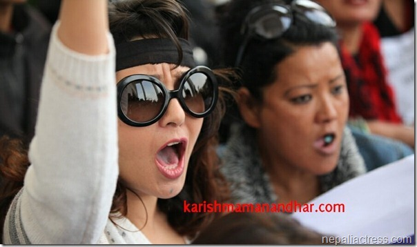 karishma manandhar andolan ktm-chanting solgans