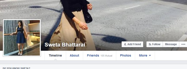 sweta bhattarai fb profile