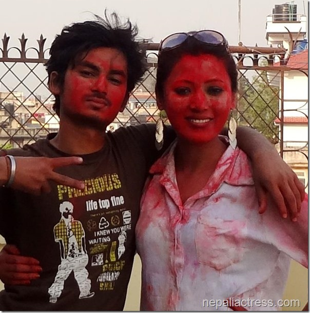 Harshika Shrestha - holi 2013 photos (5)