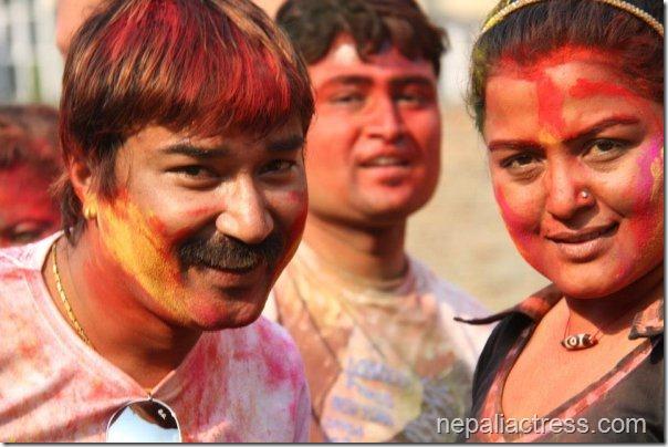 deepak khand and Rekha thapa - holi 2013