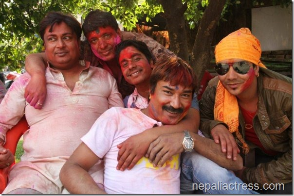 holi at rekha - chhabi and pappu