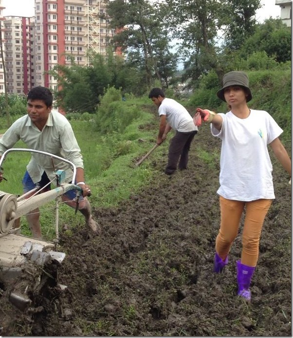 binita-baral-supervising-land-preparation - organic farming