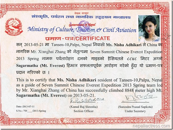 nisha_adhikari - certificate of climbing everest