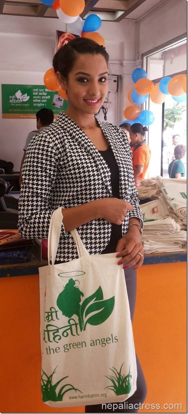 priyanka karki with green angels shopping bag - in big mart