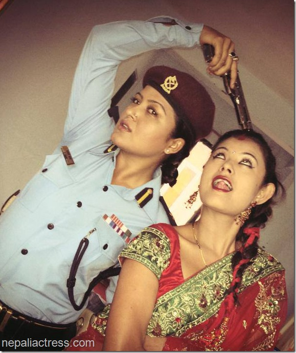 sushma karki and rekha thapa and police gun