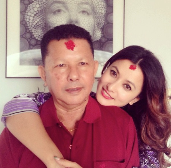 namrata Shrestha with her father fathersday
