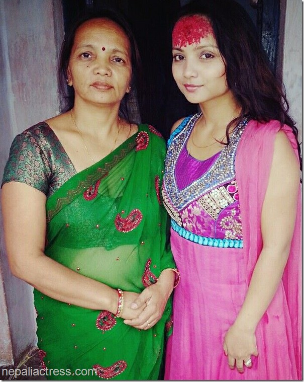 actress namrata sapkota poses with her mother