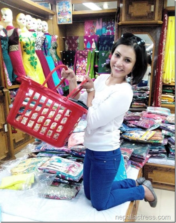 nisha adhikari shopping for dashain
