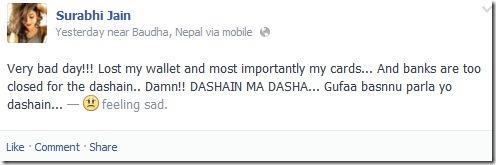 surabhi lost her wallet