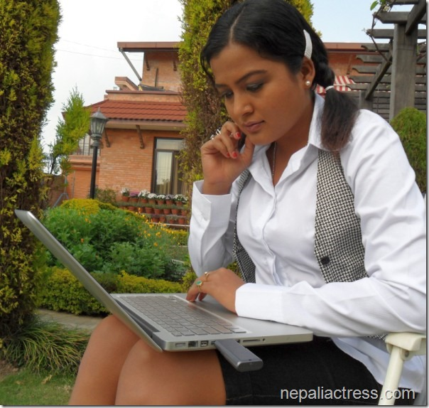 rekha thapa with laptop