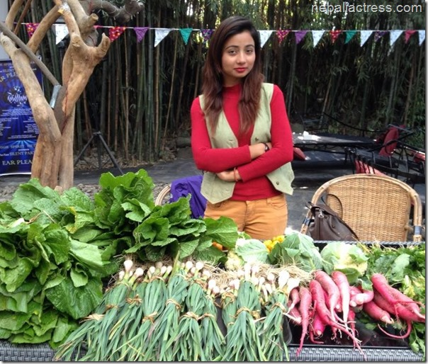binita baral selling organic vegetables