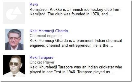 keki search - google info