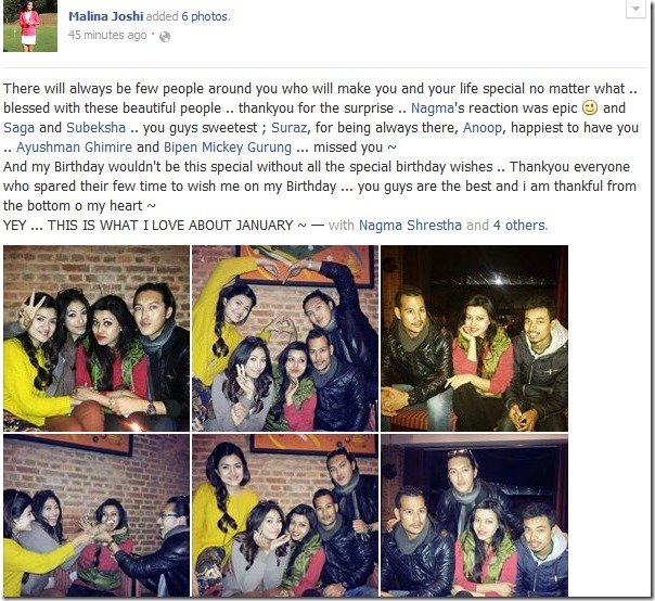 malina joshi facebook message