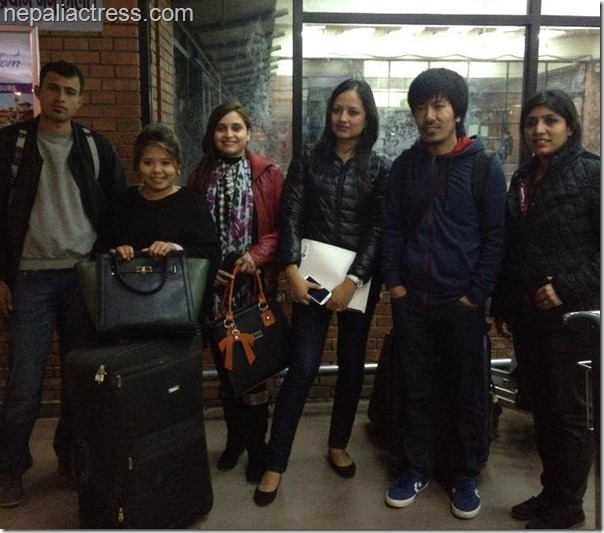 muna thapa magar sanchita luitel and others at Kathmandu airport