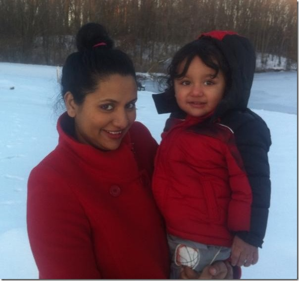richa ghimire with her son