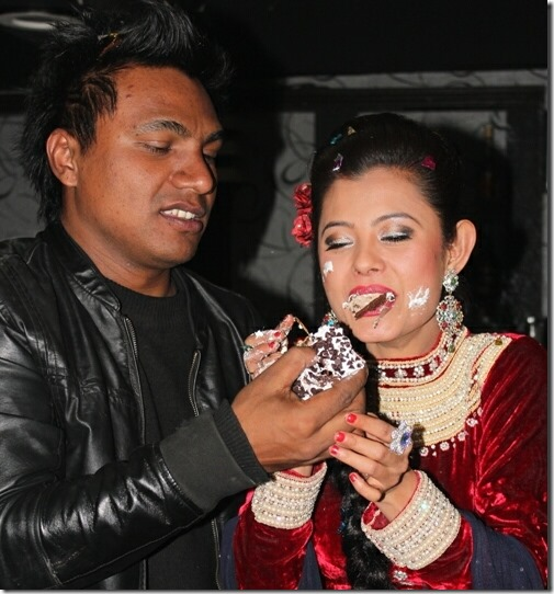 sushma karki birthday - niran feeds cake