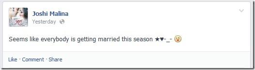 malina joshi marriage status in facebook