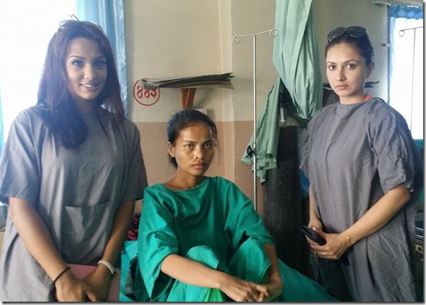 nisha adhikari and Priyanka with dilmaya adhikari in hospital