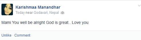 karishma manandhar mom sick