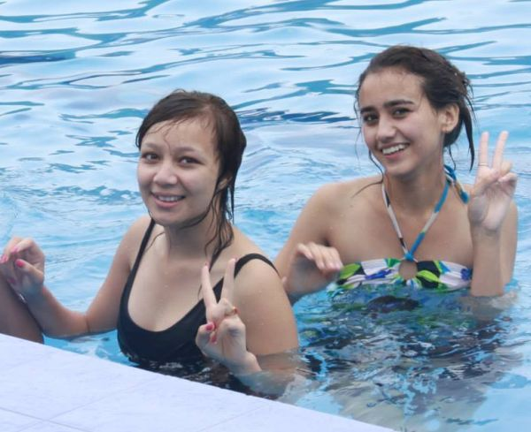 Swastima Khadka - swimming with a friend