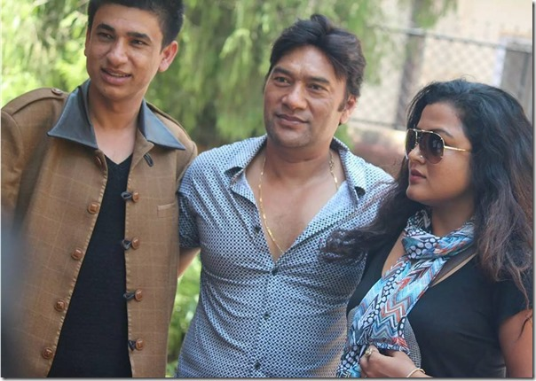 himmatwali actor sudarshan gautam and REkha Thapa with the Kathmandu valley distributor