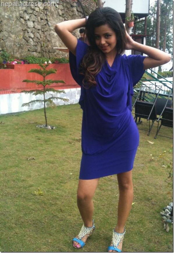 neeta dhungana in blue one piece