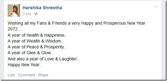 harshika shrestha new year wish