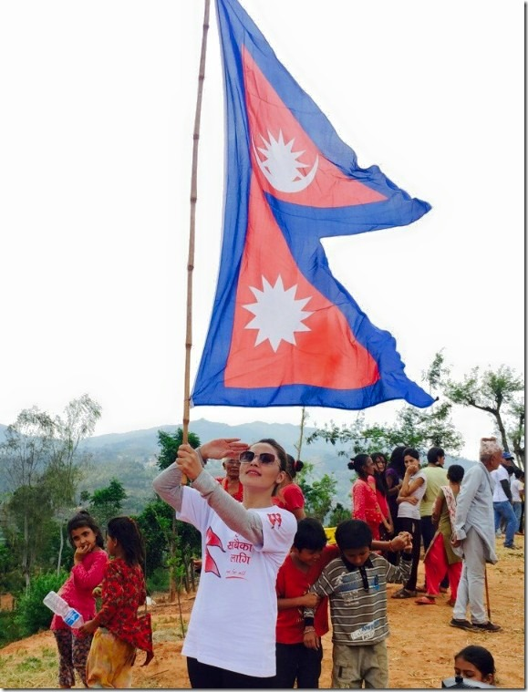 nandita kC with nepal flag