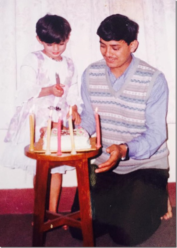 childhood barsha raut with her dad