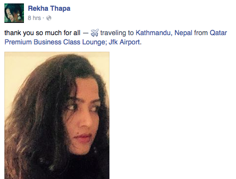 rekha thapa status update in USA returning to Nepal