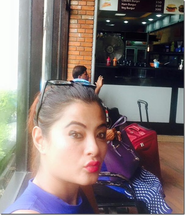 shushma karki on way to hk at airport july 2015