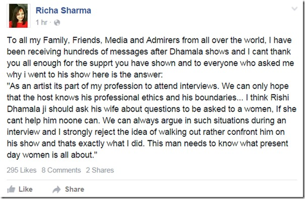 Richa Sharma facebook response