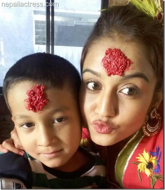 surabina Karki Dashain tika
