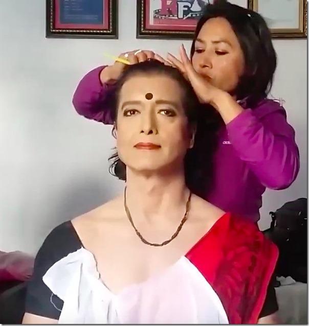 rajesh hamal make up as a woman