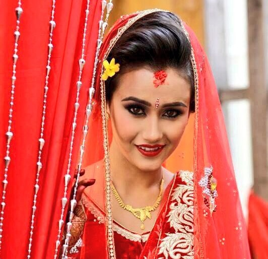 swastima khadka in her wedding dress