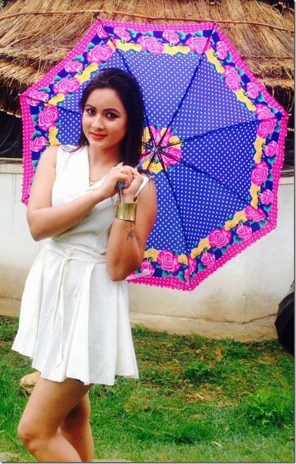 Manjita KC colorful umbrella