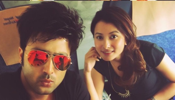 namrata shrestha and aryan sigel on plane to hongkong