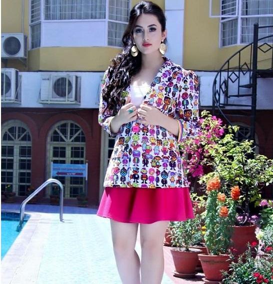 aditi budhathoki pink skirt
