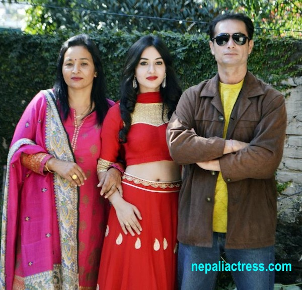 aditi budhathoki with her mother and father